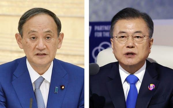 菅義偉首相(左)と韓国の文在寅大統領=聯合・共同