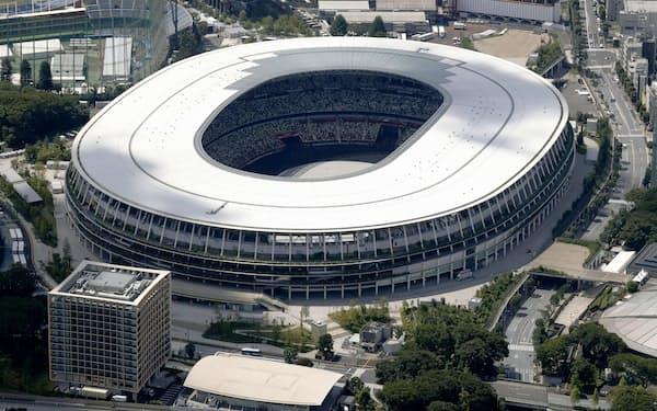 東京五輪の開会式が行われる国立競技場=共同