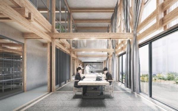 竹中工務店は札幌市に木造のオフィスを建設する(同社提供、イメージ)