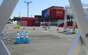 スポンサー企業が製品をPRするエリアは実施取りやめとなった(21日、東京都江東区)