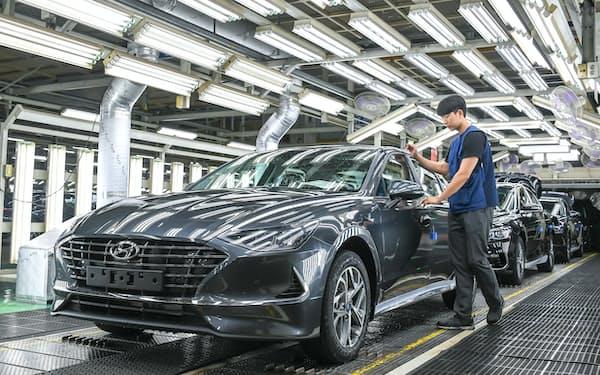 現代自動車は欧米市場の回復の恩恵を受けた(同社の韓国内工場)