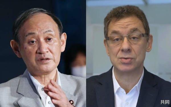 菅首相(左)とファイザーのブーラCEO