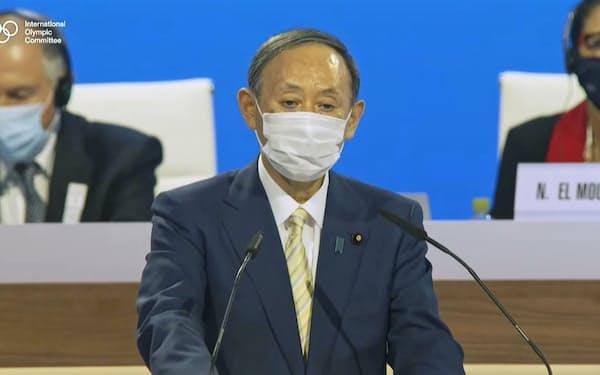 IOC総会の開会式であいさつする菅首相(20日、YouTubeのIOC公式チャンネルより)=共同