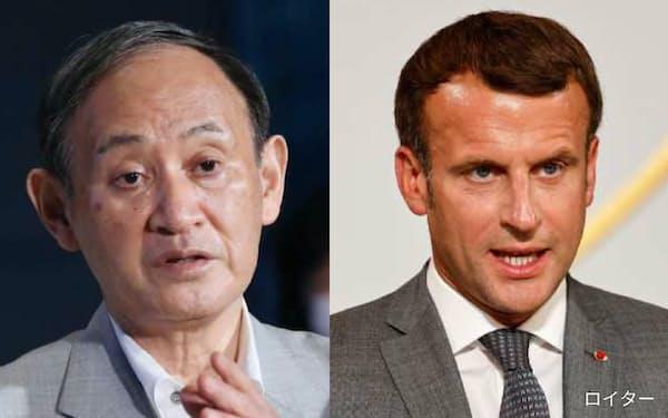 菅義偉首相(左)とフランスのマクロン大統領