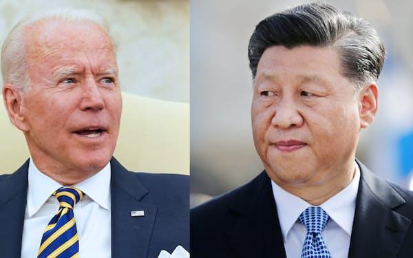 バイデン米大統領(左)と中国の習近平国家主席=ロイター
