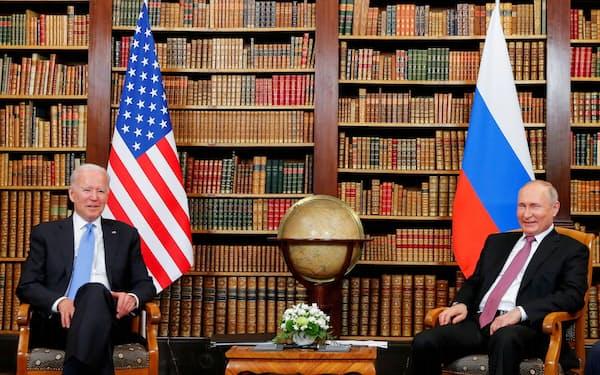 米ロには核軍縮をリードする責務がある(6月16日、ジュネーブで会談したバイデン㊧、プーチン両大統領)=ロイター