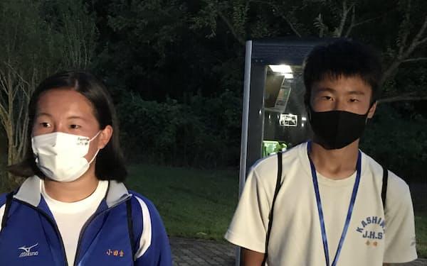 観戦後に感想を語った鹿島中学校の金田琉汰君と小田倉佑さん(27日、鹿嶋市)