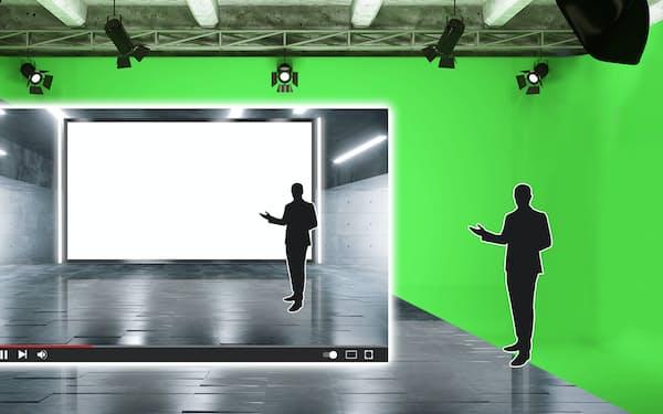 スタジオで発表会を撮影した後、背景を合成する