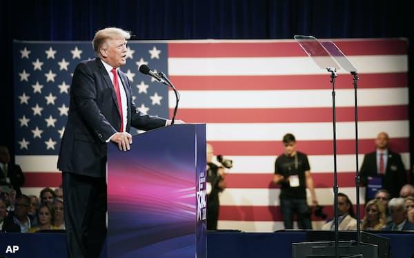 テキサス州ダラスで演説するトランプ前大統領(11日)=AP