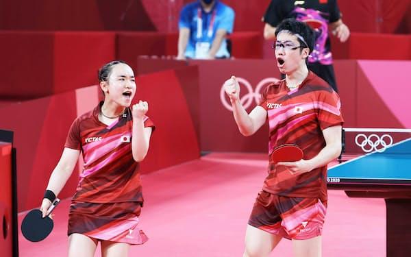 混合ダブルス決勝で中国組と対戦する水谷・伊藤組