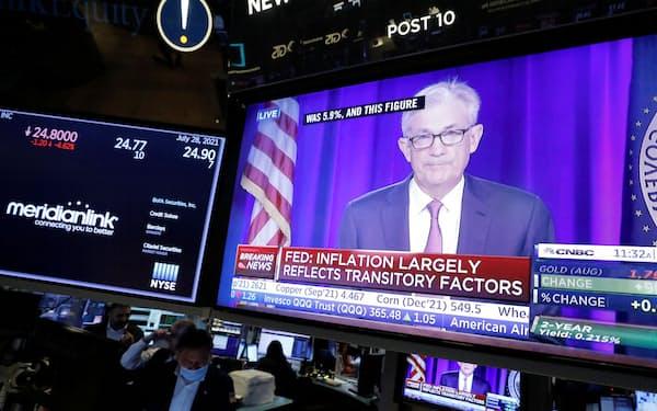 パウエル米連邦準備理事会(FRB)議長の記者会見が始まると金利は低下に転じた=ロイター