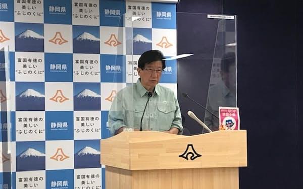 記者会見する静岡県の川勝平太知事(29日、静岡市)