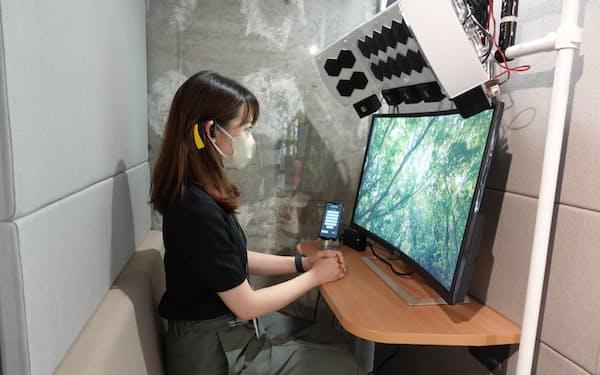 香りの出る個室ブースなどオフィス設備の実証実験も実施している