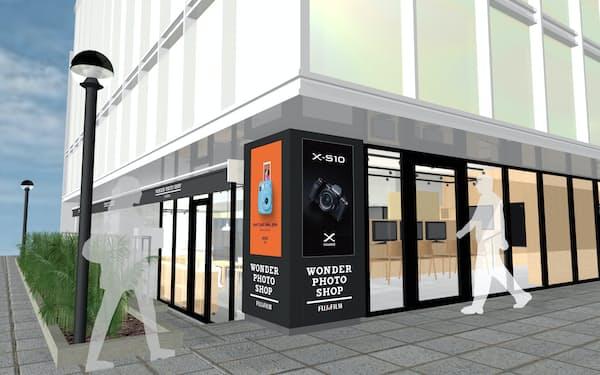 表参道に移転する新店舗ではワンフロアでカメラやプリントなど幅広い製品を見やすくする(イメージ)