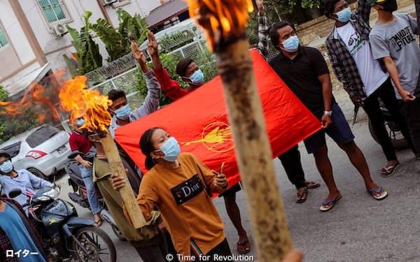 ミャンマーでは国軍への抗議活動が断続的に続いている=ロイター