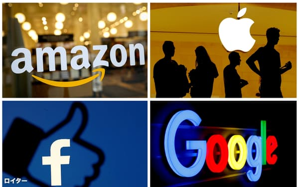 世界で時価総額が1兆ドルを超えるのは石油のサウジアラムコとGAFAM(グーグル、アップル、フェイスブック、アマゾン・ドット・コム、マイクロソフト)だけだ。(写真はマイクロソフトを除く各社ロゴ)(ロイター)
