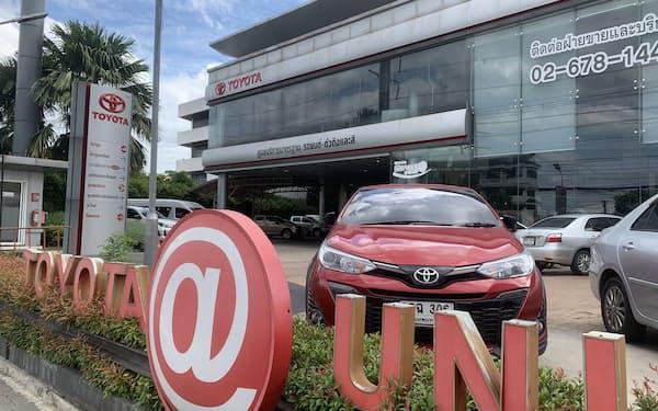 トヨタ自動車はタイの2021年の新車販売の見通しを下方修正した(7月、バンコク)