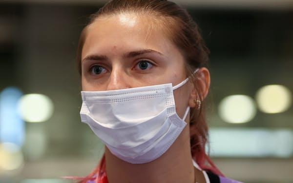 国際オリンピック委員会(IOC)に支援を訴えたベラルーシのツィマノウスカヤ選手=ロイター