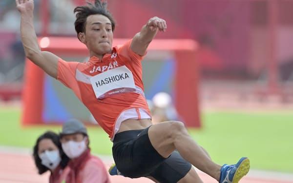 男子走り幅跳び決勝で6位に入賞した橋岡優輝