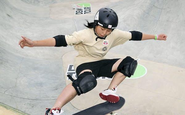 スケートボード・パーク女子の岡本碧優。五輪予選大会で4連勝した=ゲッティ共同