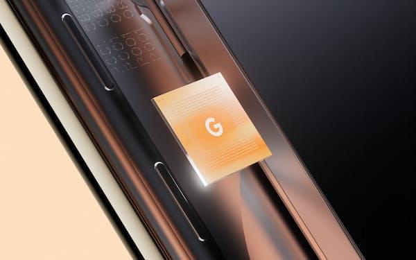 グーグルが開発したスマートフォン向けの半導体「Google Tensor」(同社提供)