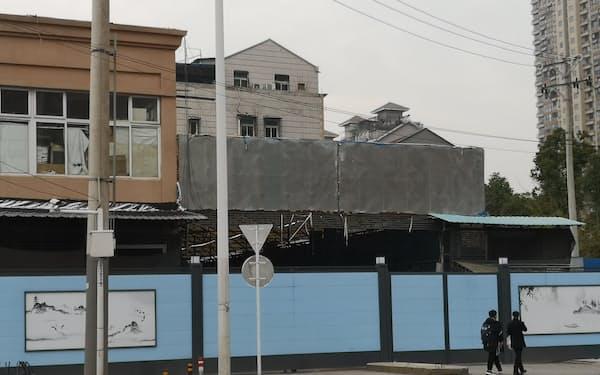 新型コロナウイルスの流行初期に感染が広がった華南海鮮卸売市場(2021年2月、湖北省武漢市)