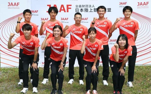 競歩日本代表の(前列左から)池田、岡田、藤井、河添、(後列左から)勝木、高橋、山西、川野、丸尾(7月24日、代表撮影)=共同