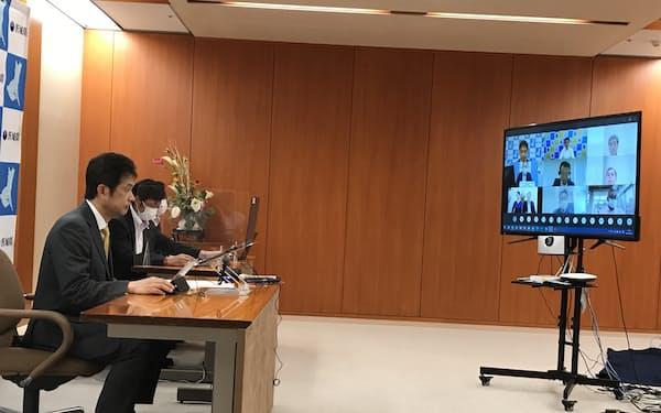 大井川知事ら産官学関係者による協議会の初会合をオンラインで開いた(3日、茨城県庁)