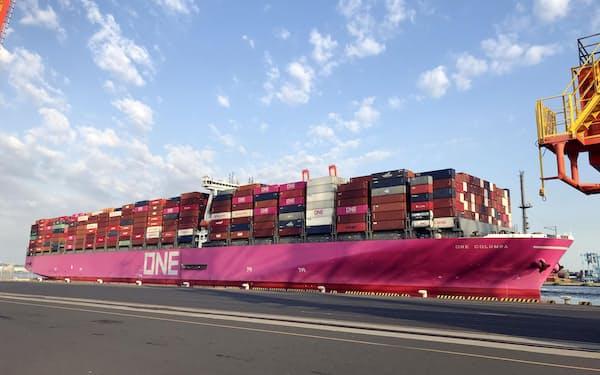 海運大手3社による統合会社のコンテナ船