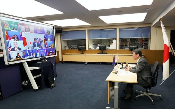 EAS外相会議に参加する茂木外相(4日)=外務省提供