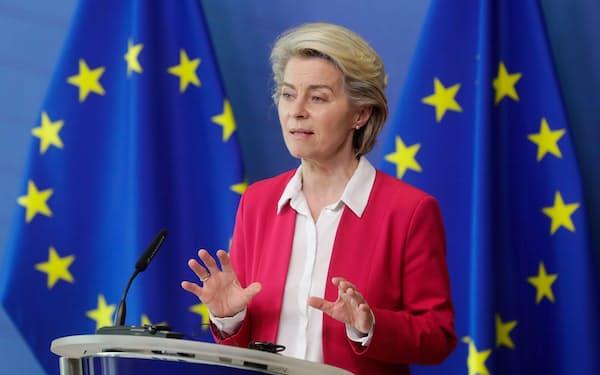 EUはESG情報開示で先行する。(欧州委員会のフォンデアライエン欧州委員長)(ロイター=共同)