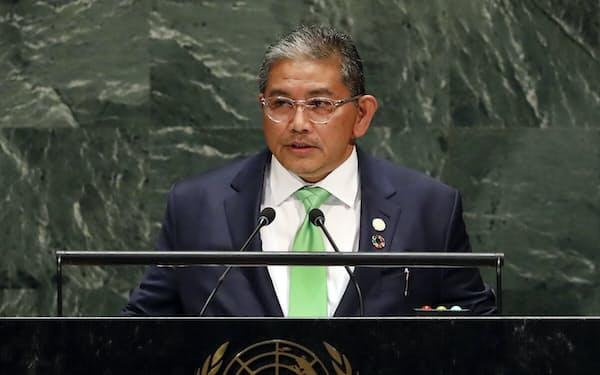 2019年、国連総会で演説するブルネイのエルワン第2外相=AP