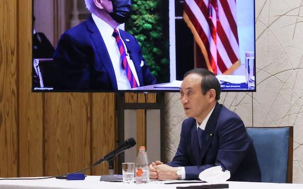 気候変動サミットに出席した菅首相(4月)=内閣広報室提供