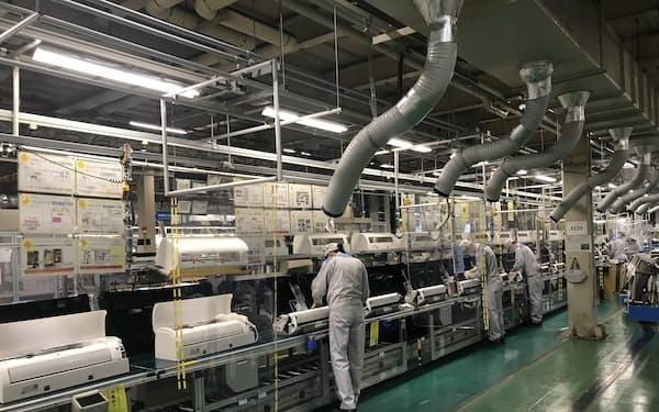 ダイキンは空調や空気清浄機の引き合いが活況だ(滋賀県の工場)