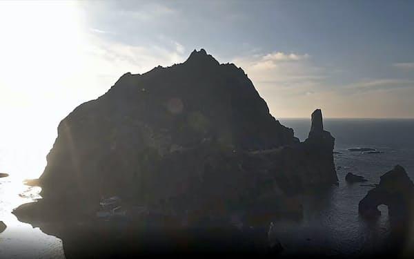 韓国政府が6日から始めた島根県・竹島の映像のインターネット中継=共同