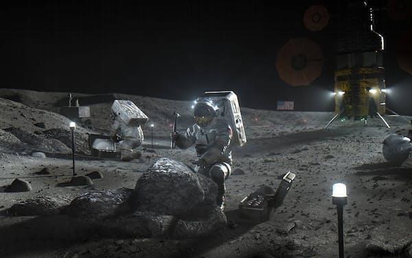 産官学連携による資源開発で月面開発での存在感を高める(アルテミス計画の活動をする宇宙飛行士のイメージ図)=NASA提供