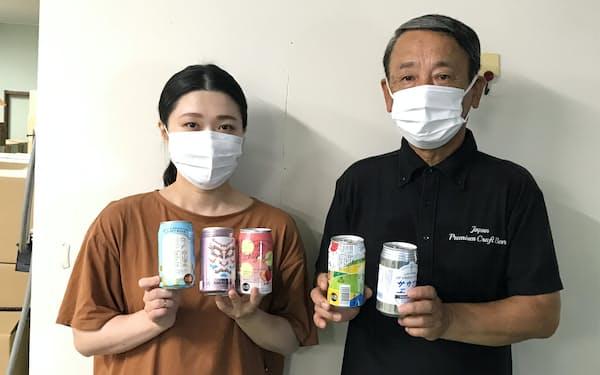 地ビールの企画を担当する大高さん(左)と入口社長