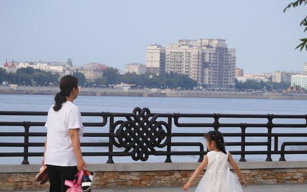 ロシアとの国境沿いにある黒竜江省の黒河市(7月15日)