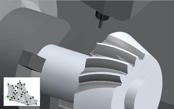 工作機械で作る部品をバーチャルで加工