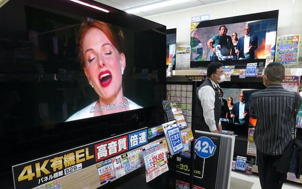 自社生産のテレビは上位機種に絞っていく(京都市の家電量販店)