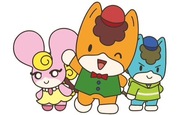 アニメには「ぐんまちゃん」㊥のほか、ともだちの「みーみ」㊧、同「あおま」㊨といった新キャラクターが多数登場する