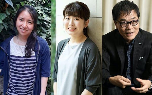 10年近い年月がたったから震災を題材にした小説が書けたという石沢麻依㊧とくどうれいん㊥。いとうせいこう㊨は「非当事者だから伝えられることもある」と話す