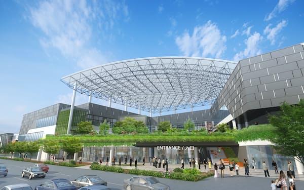 「イオンモール豊川」(仮称)は鉄骨3階建てで約200店舗が入居する予定だ