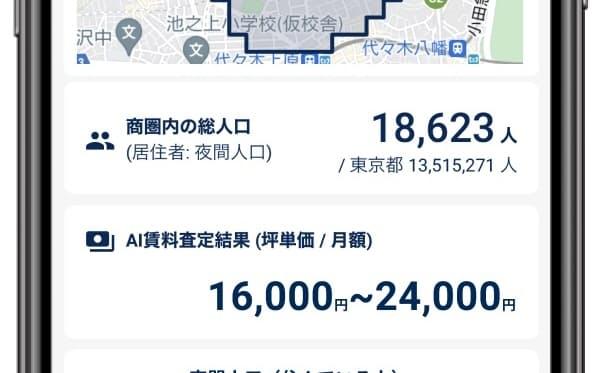 無料で商圏内の人口や想定賃料を知れるサービスを提供する(開発中のイメージ)
