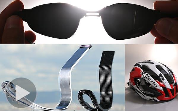 パラリンピアンを支える(写真上から時計回りに)パラ水泳用の光を通さない山本光学の「ブラックゴーグル」、暑さ対策を施したオージーケーカブトのヘルメット「IZANAGI」、軽量化し空気抵抗も抑えたミズノの競技用義足の板バネ「KATANAΣ」