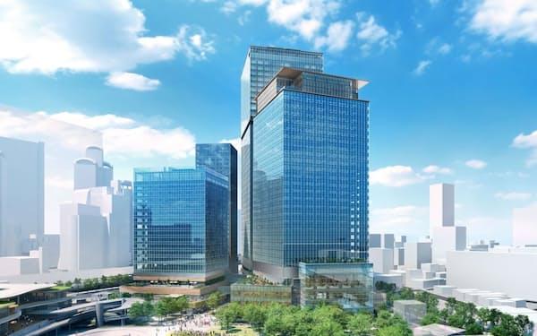 うめきた2期の南側にできるビルの完成予想イメージ