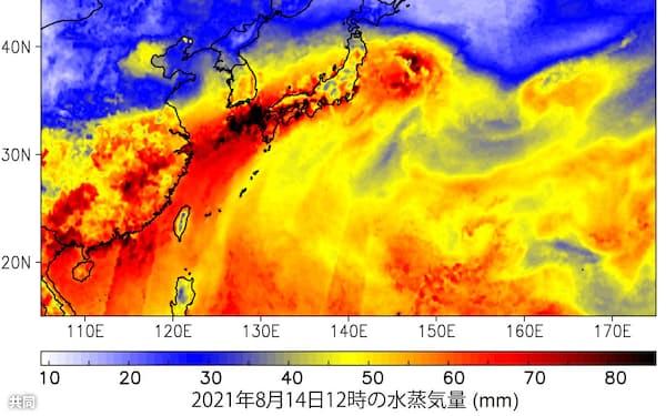 14日正午の水蒸気量解析図=筑波大の釜江陽一助教提供・共同