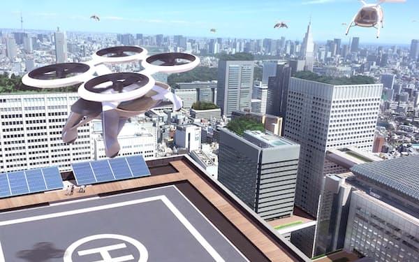 「空飛ぶクルマ」の飛行イメージ図