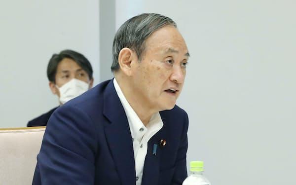 規制改革推進会議であいさつする菅首相(23日、首相官邸)