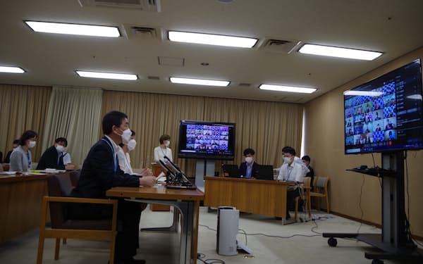 緊急事態宣言の追加方針を受け、宮城県は25日の市町村長会議で対策の方針を示した(宮城県庁)